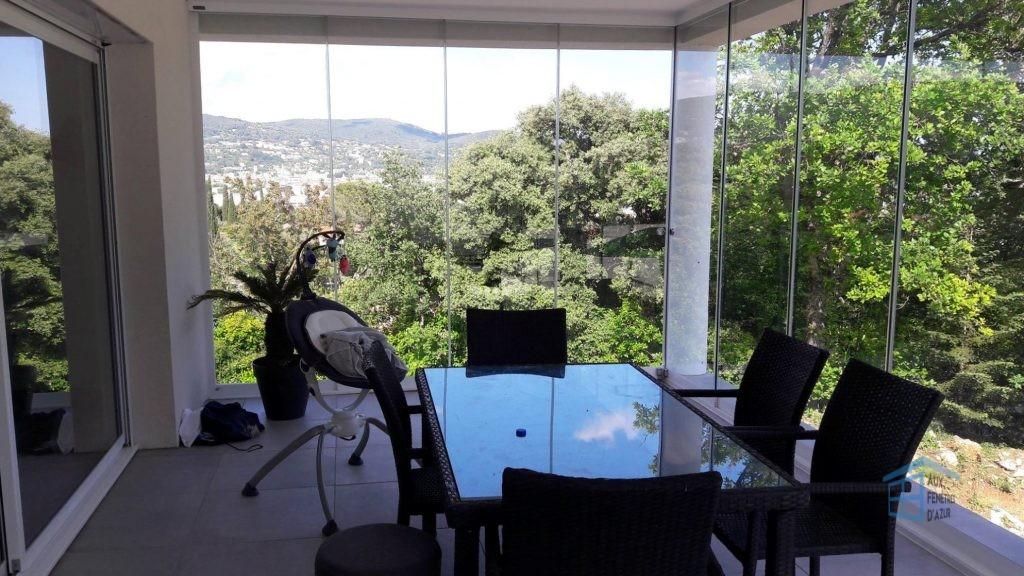 rideau de verre sur terrasse à Draguignan