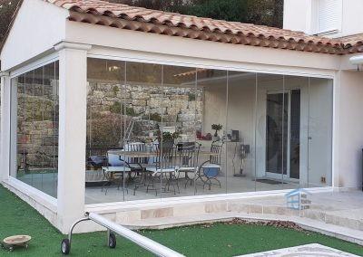 Terrasse Couverte fermée avec du Verre à Opio